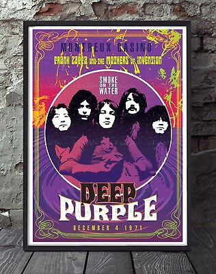 Deep Purple Unframed Rock Print. Celebrating Famous Gigs. Specially Created. • 5£