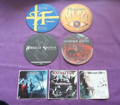 NUCLEAR BLAST Promo Beer Mats X 4 + 3 Stickers In Flames Primal Fear Hammerfall • 14£