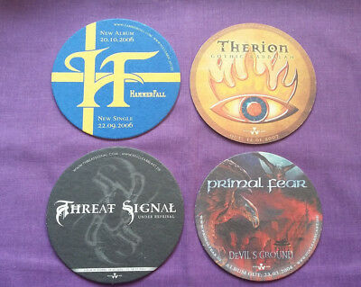 NUCLEAR BLAST Promo Beer Mats X 4 In Flames Primal Fear Hammerfall Sirenia • 12£