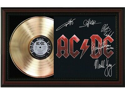 AC/DC Framed Cherry Wood Reproduction Signature LP Record Display.  M4  • 140.15£