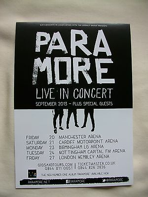 PARAMORE Live In Concert 2013 UK Arena Tour Promotional Tour Flyer VERY RARE • 1.95£