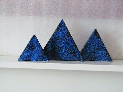 Pink Floyd The Dark Side Of The Moon Blue Pyramid Wood Triangles • 40£