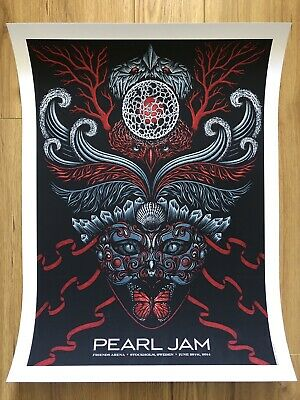 Pearl Jam Stockholm 2014 Tour Poster By Todd Slater - Lighting Bolt Tour • 129.99£