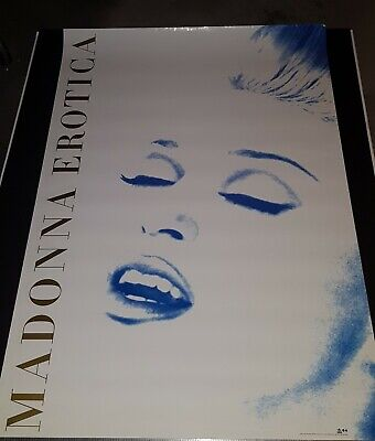 Madonna  Erotica  Promo Only Poster Striking Gold Print On Blue Iconic Image 94' • 26.83£