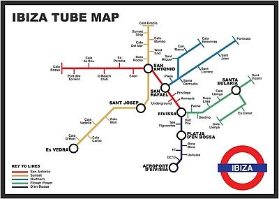 Ibiza Tube Map Poster A3 & A2 - NEW • 9.99£