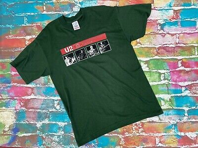 L27 Vintage U2 Tour T-Shirt 2001 Green Mens Large  • 18.95£