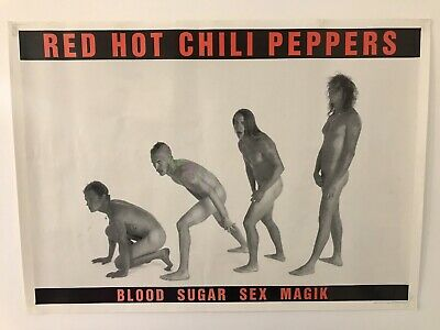 Vintage Rare Red Hot Chili Peppers Poster Blood Sugar Sex Magik  • 24.95£