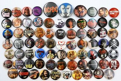METAL AND ROCK BADGES 75 X Heavy Metal & Rock Music Badges - ALL SECONDS • 3.95£