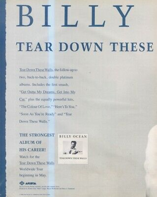 (sfbk58) Poster/advert 26x11  Billy Ocean : Tear Down These Walls • 26.99£