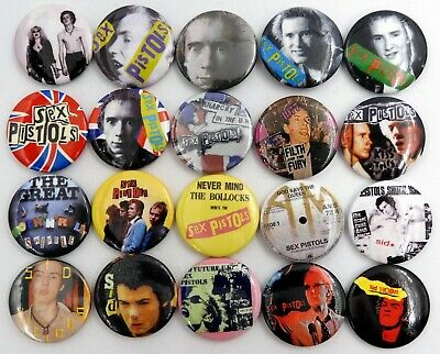 SEX PISTOLS BUTTON BADGES 20 X New Sex Pistols Pin Badges * Johnny * Sid * • 3.95£