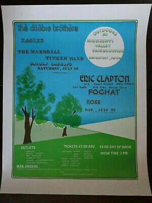 Eric Clapton Original 1974 Concert Poster The Eagles Doobie Brothers Exc. • 250£