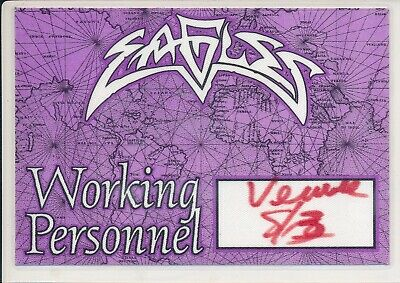 CONCERT TICKET - The Eagles @ Wembley Stadium 1990's Laminated Staff Pass • 4.99£