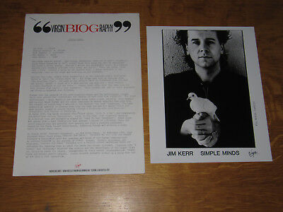 Simple Minds -  Once Upon A Time 1985 Uk Promo Press Release & Promo Press Photo • 20£