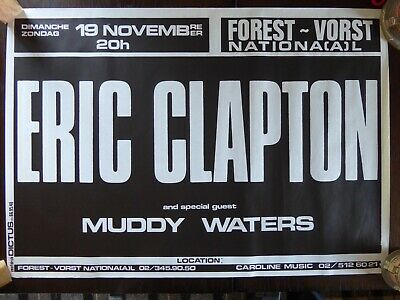 Eric Clapton Original 1978 Concert Poster Brussels With Muddy Waters - Near Mint • 250£
