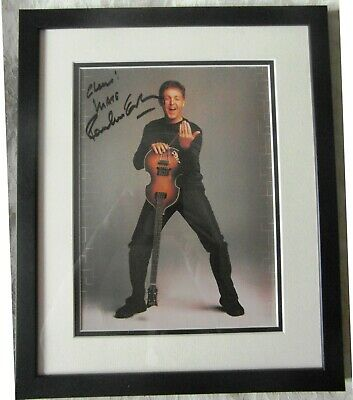 Paul McCartney Signed Photograph. 100% Authentic.  Framed. 14  X 17 . • 599£