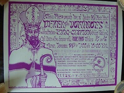 Derek & The Dominos ERIC CLAPTON - Baltimore 1970 Near Mint 2001 Reprint Poster. • 39.99£