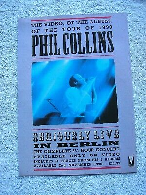 PHIL COLLINS - SERIOUSLY LIVE IN BELIN - ADVERT - 21 X 30cm.  • 2.54£