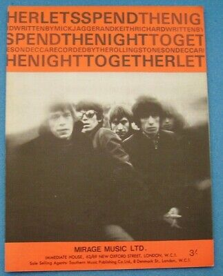 Rolling Stones Lets Spend Night Together Original 1967 Sheet Music Rare 60s Rock • 9.99£