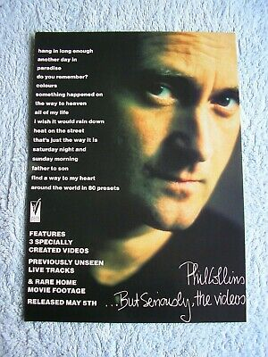 PHIL COLLINS - BUT SERIOUSLY, THE VIDEOS - ADVERT - 21 X 29cm. • 2.54£