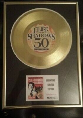 Cliff Richard And The Shadows 50th Anniversary Limited Edition Framed Gold Disc • 30£