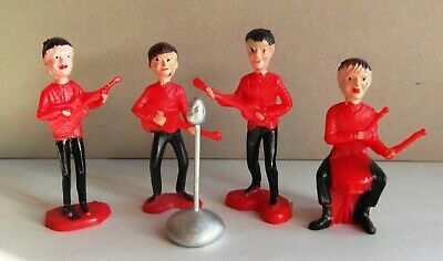 The Beatles Vintage Original 4 Cake Toppers Plastic Hand Painted 1960s • 75£