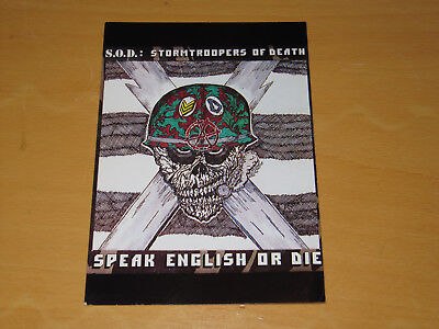 S.o.d. Stormtroopers Of Death - Speak English Or Die - Vintage Postcard (promo) • 4.99£