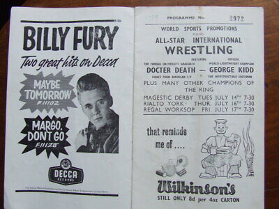 Billy Fury: Vince Eager. Duffy Power.  Beat-Wave  Concert Programme. 1959 • 15£