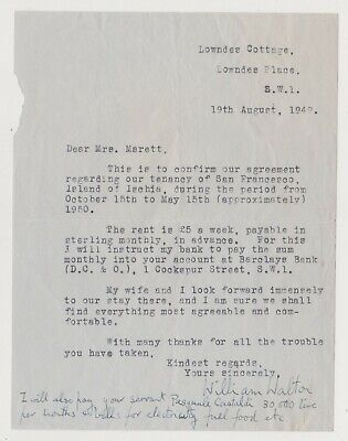 William Walton Signed Letter On His Home In Ischia, 1949 - Classical Composer • 80£
