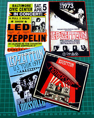 Led Zeppelin, Set Of 4 Large Tour / Concert Stickers, Glossy Vinyl • 3.95£