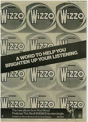 Roy Wood Wizzo Band New Album  A3 Laminated Original Advert UK 1977 • 6£
