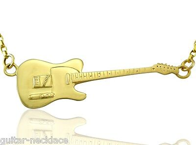 Guitar Necklace Mens Solid Gold Rick Parfitt Fender Telecaster Electric 9ct - 9k • 399.98£
