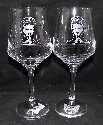 New Etched  DAVID BOWIE  Wine Glass(es) - Free Gift Box  - Large 390mls Glass • 22.99£
