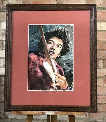 Fabulous Original Oil Painting Of Jimi Hendrix Circa 1960's • 350£