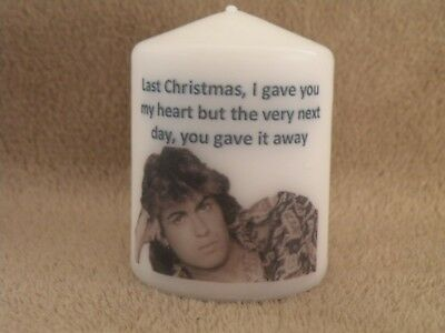 Unique George Michael Christmas WHAM Last Christmas Song Lyrics Candle Gift   • 6.99£
