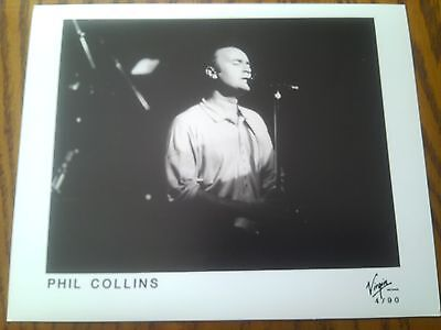 Very Rare Promo Real Photo B&W Print Phil Collins Live On Stage • 19.50£