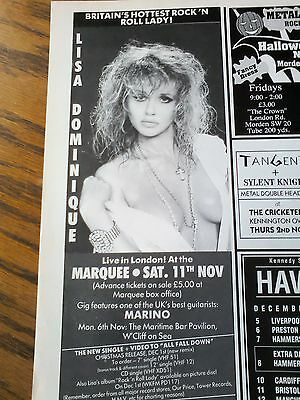 Lisa Dominique Marquee London Live Tour Advert 80s Half Page From Music Magazine • 5.50£