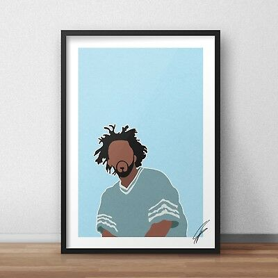 J Cole INSPIRED WALL ART Print / Poster Minimal A4 A3 RAP 4 Your Eyez Only • 26.99£