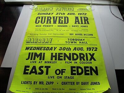 Curved Air - East Of Eden - Roy Wood & Jimi Hendrix Film - Torquay 1972 Poster • 62.50£