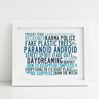 Radiohead Poster, Greatest Hits, Framed Original Art, Album Print Lyrics Gift • 31.99£