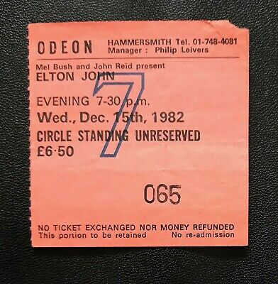 ELTON JOHN Ticket Stub 1982 Hammersmith Odeon Wed Dec 15th Posted From UK • 30£