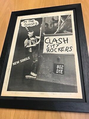 Rare Framed Original 1978 The Clash - 'clash City Rockers' Full Page Advert • 69.50£