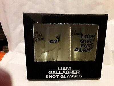 Liam Gallagher Mistake Shot Glasses New Boxed Box Of Two Free Uk Post • 9.98£
