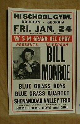 Bill Munroe Country Music Poster • 52£