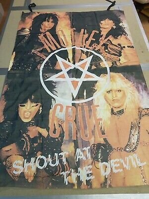VINTAGE 80s 90s ORIGINAL ROCK METAL POSTER FLAG MOTLEY CRUE  SHOP STOCK • 125£