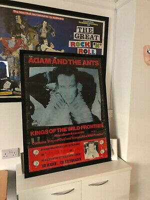 Framed Rare Original 1980 Adam & The Ants Kings Of The Wild Frontier Poster • 275£