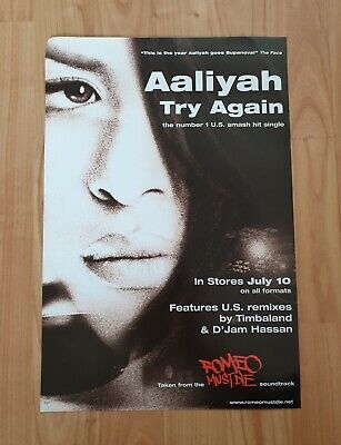 Aaliyah Try Again Promo Poster Ultra Rare  • 19.95£