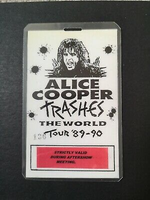 ALICE COOPER - TRASHES THE WORLD TOUR 1989-90 Laminated After Show Pass • 14£