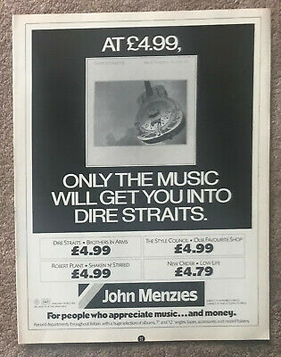 DIRE STRAITS - BROTHERS IN ARMS 1985 Full Page UK Magazine Ad • 3.95£