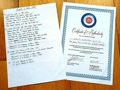 Oasis Noel Gallagher Handwritten Rock N Roll Star Lyrics Liam Rare Memorabilia • 600£