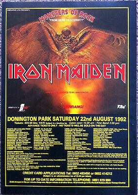 MONSTERS OF ROCK  -1992 Full Page UK Ad IRON MAIDEN • 3.95£